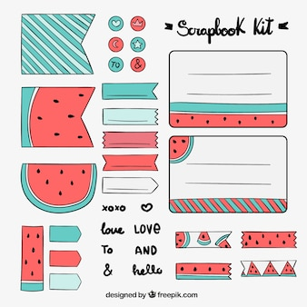 Hand drawn scrapbook kit with watermelon drawings