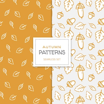 Hand drawn seamless patterns with autumn elements