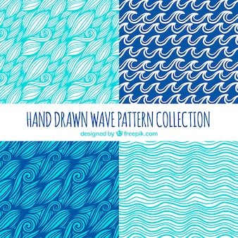 Hand-drawn selection of four wave patterns