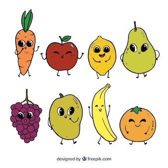 Hand-drawn selection of funny fruit characters