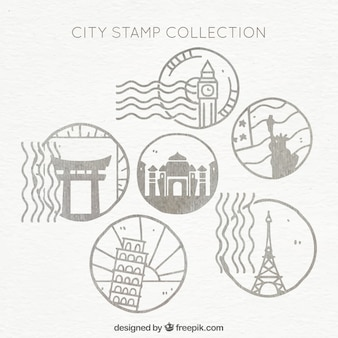 Hand-drawn selection of round city stamps
