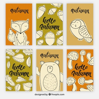 Hand drawn set of autumn cards