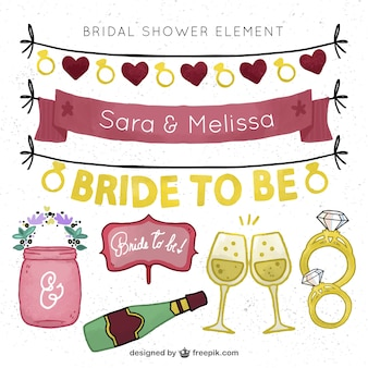 Hand-drawn set of bridal shower elements