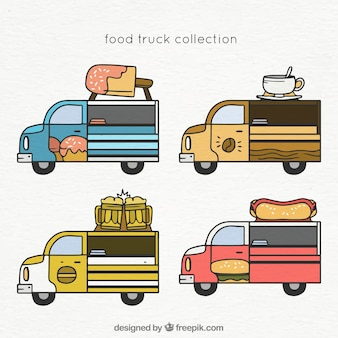 Hand drawn set of classical food trucks