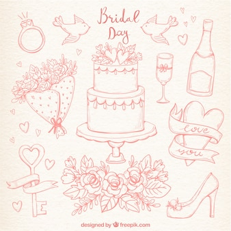 Hand-drawn set of cute wedding elements