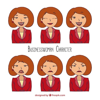 Hand-drawn set of expressive businesswoman