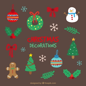 Hand-drawn set of fantastic objects for christmas