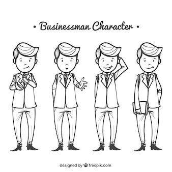 Hand-drawn set of four businessman characters