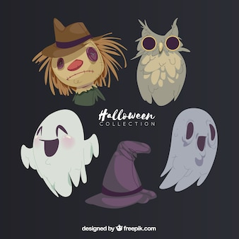 Hand drawn set of halloween characters