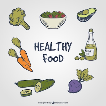 Hand-drawn set of healthy food
