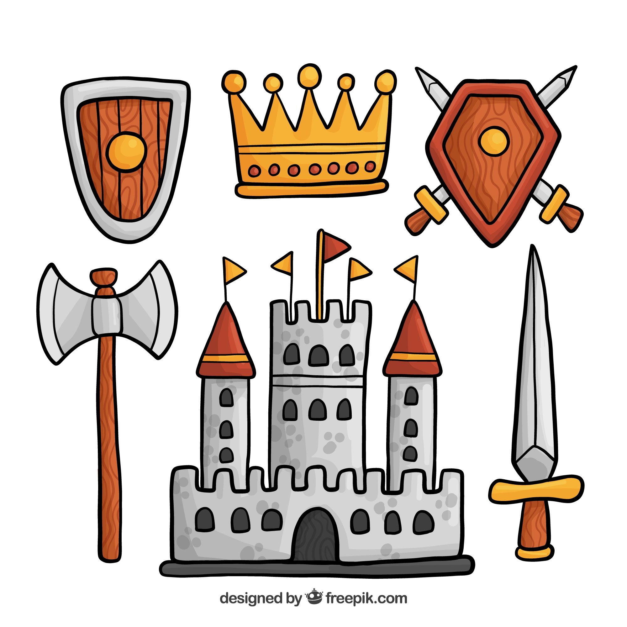 Hand drawn set of medieval objects