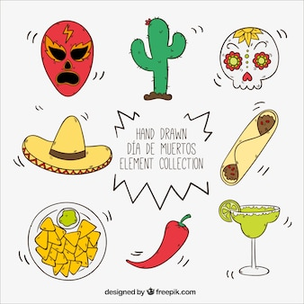 Hand-drawn set of mexican items