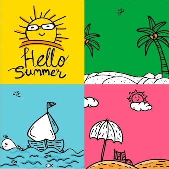 Hand-drawn set of summer cards