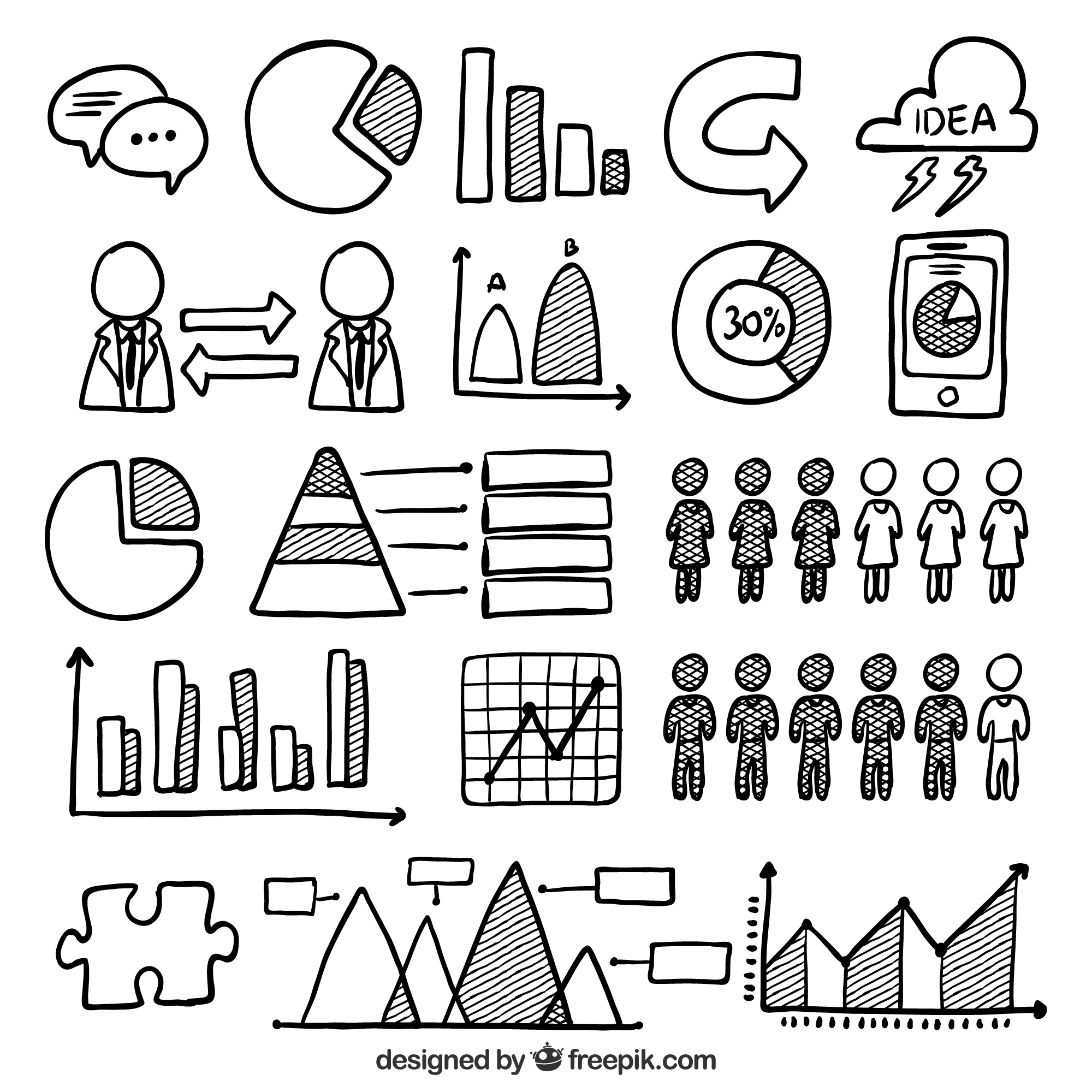 Hand-drawn set of useful elements for infographics