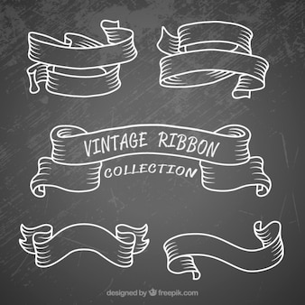 Hand drawn set ribbons in vintage style