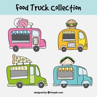 カラフルな食品トラックで手描きセット