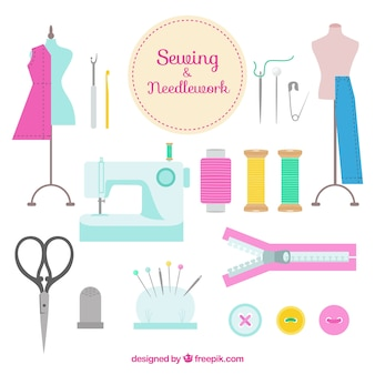 Hand drawn sewing accessories
