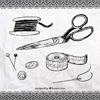 Hand drawn sewing elements