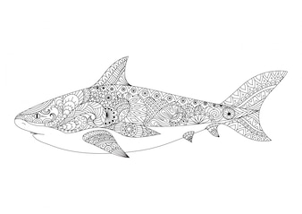 Hand drawn shark background