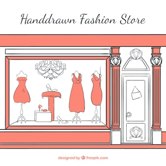 Hand-drawn shop window of elegant vintage clothing store