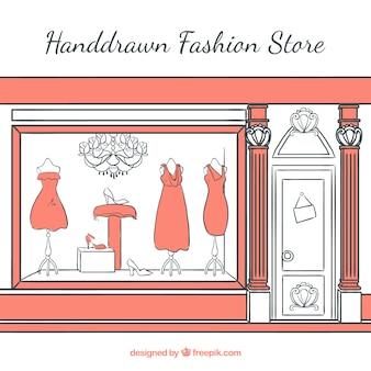 Hand-drawn shop window of elegant vintage clothing store