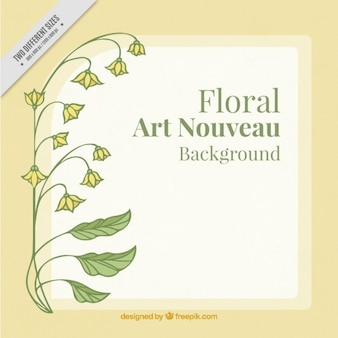Hand drawn simple plant background in art nouveau style