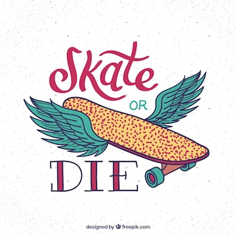 Hand drawn skatboard with wings background