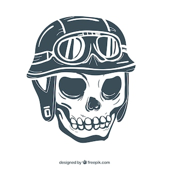 Hand drawn skull background with helmet and glasses