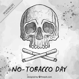 Hand drawn skull with cigarettes background