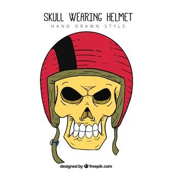 赤いヘルメットと手描きの頭蓋骨
