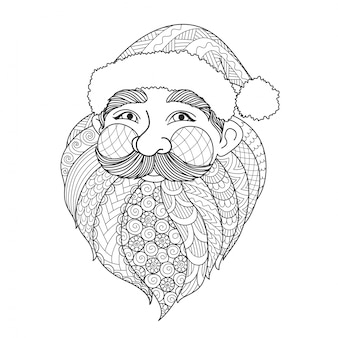 Hand drawn smile santa claus