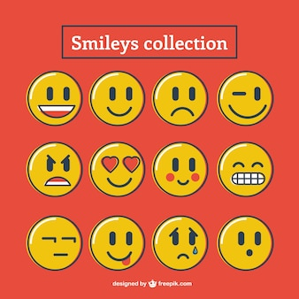 Hand drawn smileys collection in yellow color