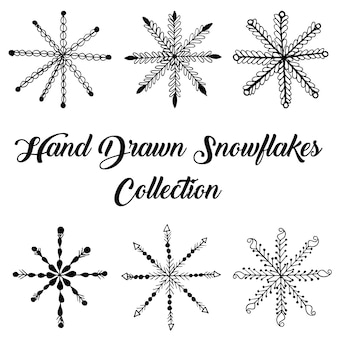Hand drawn snowflakes collection