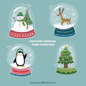 Hand drawn snowglobes with christmas characters