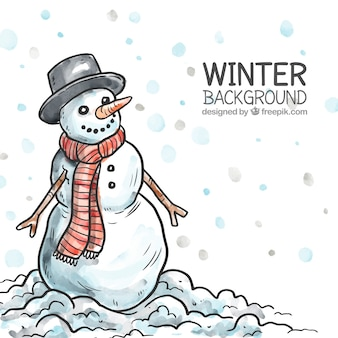 Hand drawn snowman background