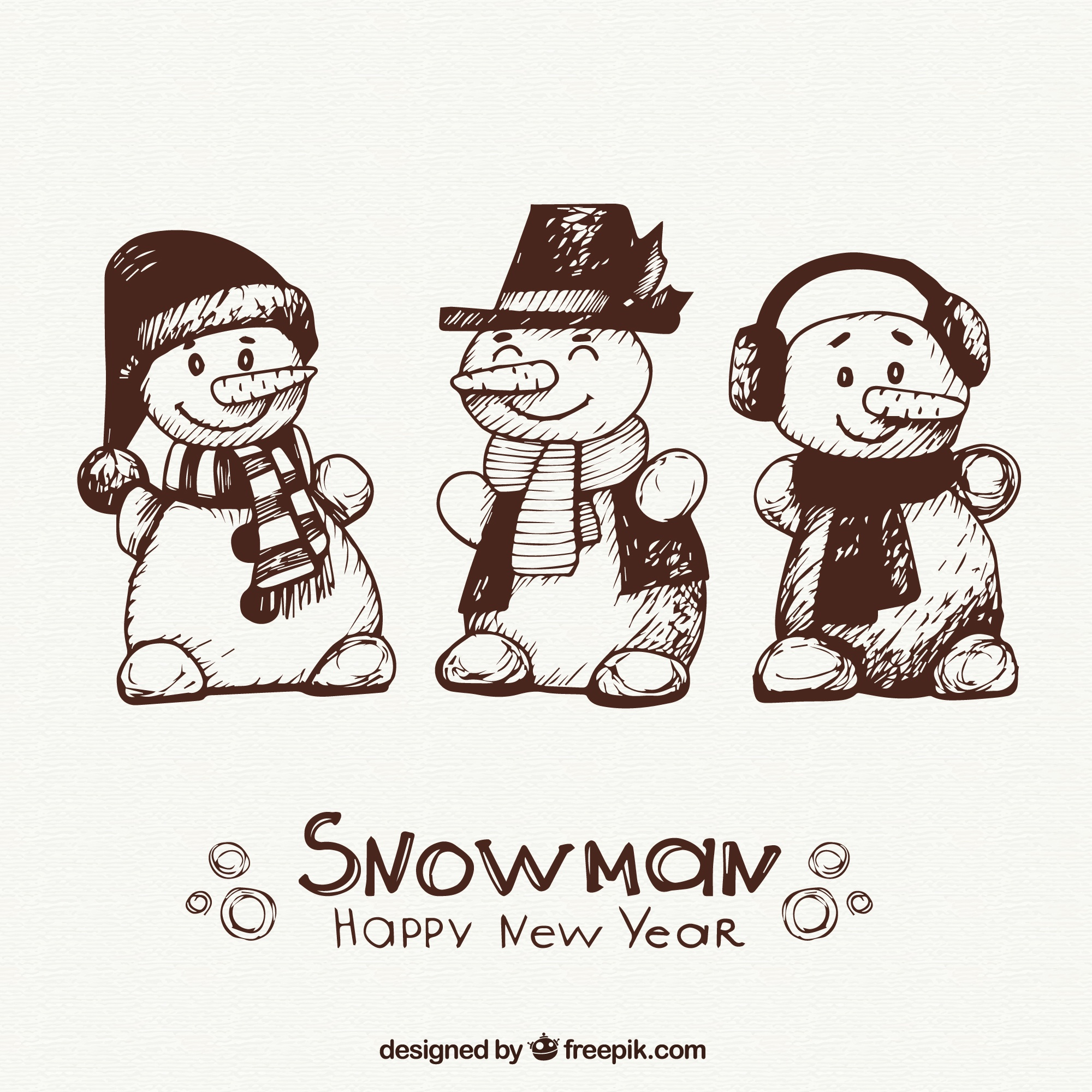Hand drawn snowman characters