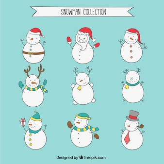 Hand Drawn Snowmen Set