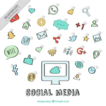 Hand drawn social networking icons background