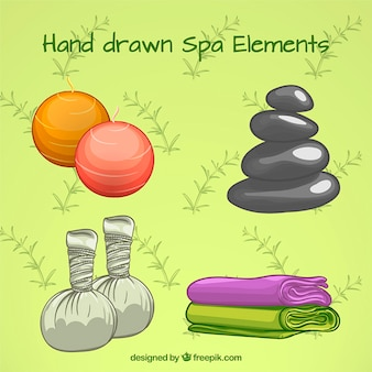 Hand drawn spa elements pack