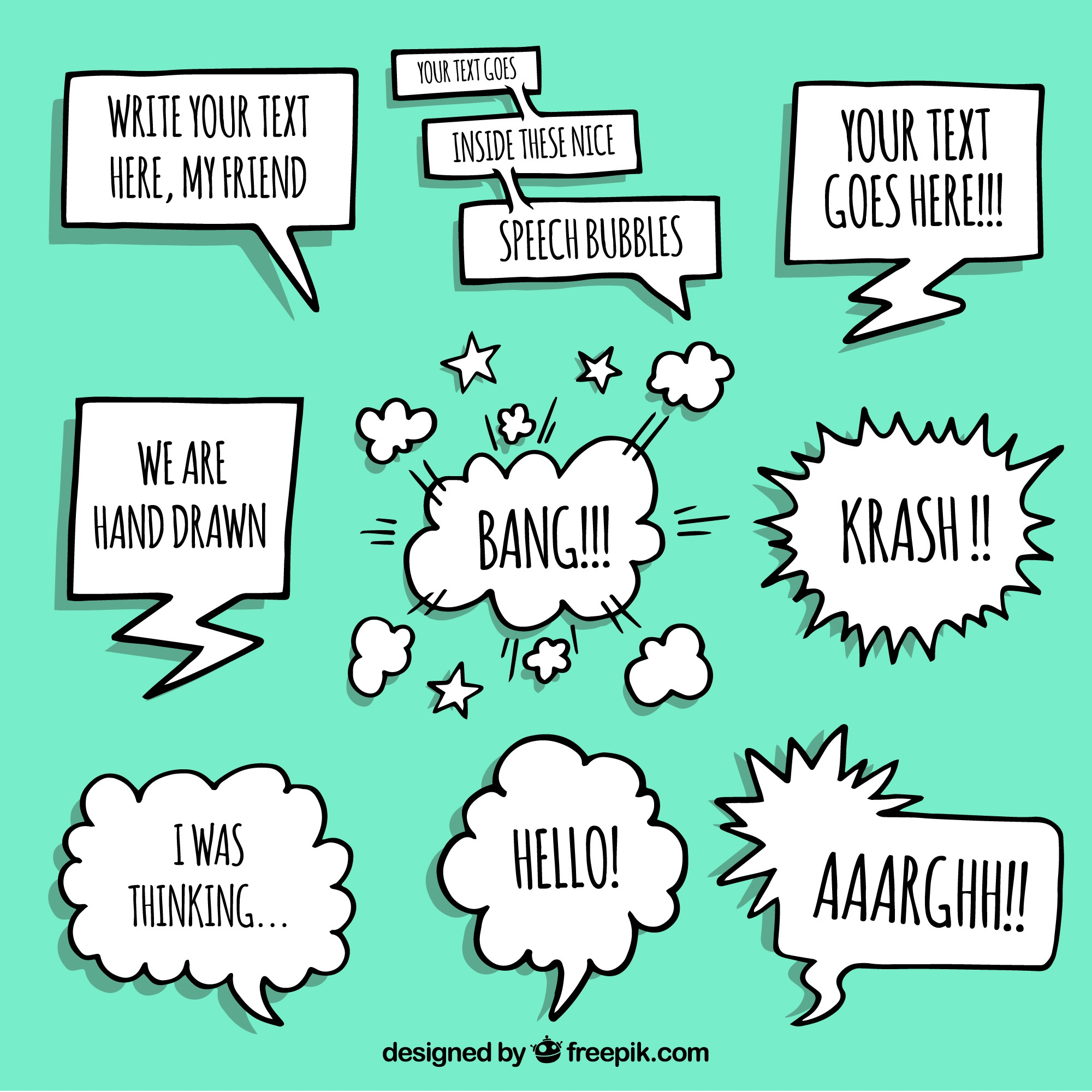 Hand drawn speech bubble template collection