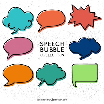 Hand drawn speech bubbles in comic style