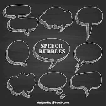 Hand drawn speech bubbles on blackboard