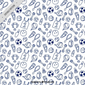Hand drawn sport accessories pattern
