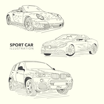 Hand drawn sport  cars collection