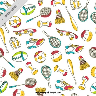 Hand drawn sport elements pattern