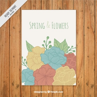 Hand drawn spring and flowers card