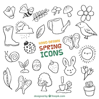 Hand drawn spring animals and elements