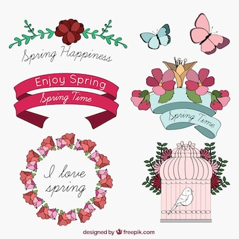 Hand drawn spring elements pack