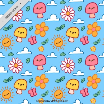 Hand-drawn spring pattern with flowers and mushrooms