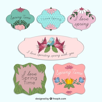 Hand drawn spring time badges